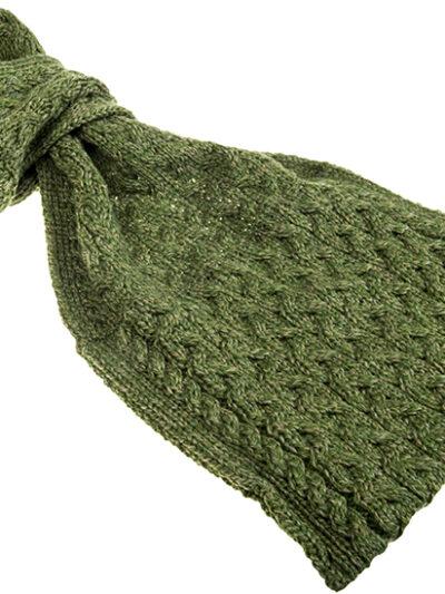 green aran pull through scarf