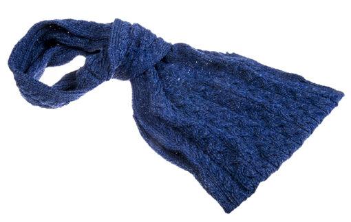 blue aran pull through scarf