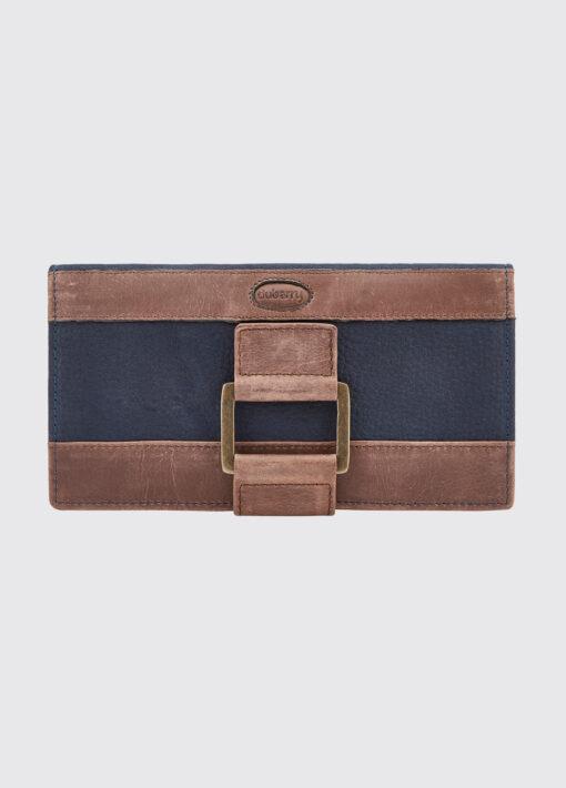 ladies leather wallet navy brown