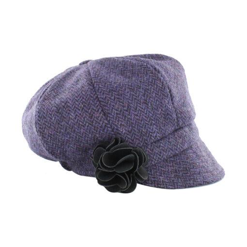 purple newsboy hat with flower