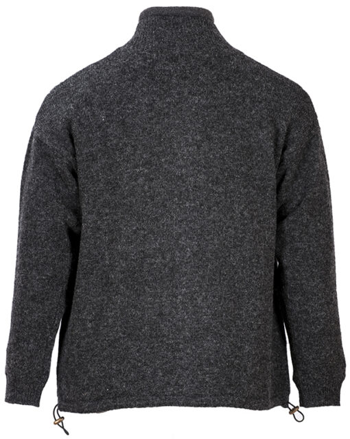 mens wool zip cardigan grey back