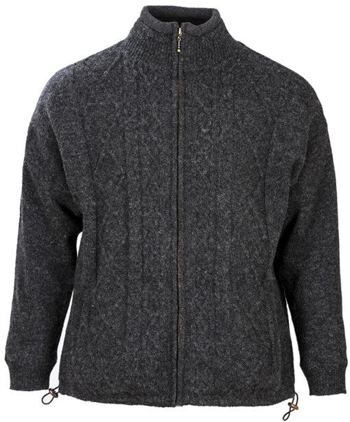 mens wool zip cardigan grey front