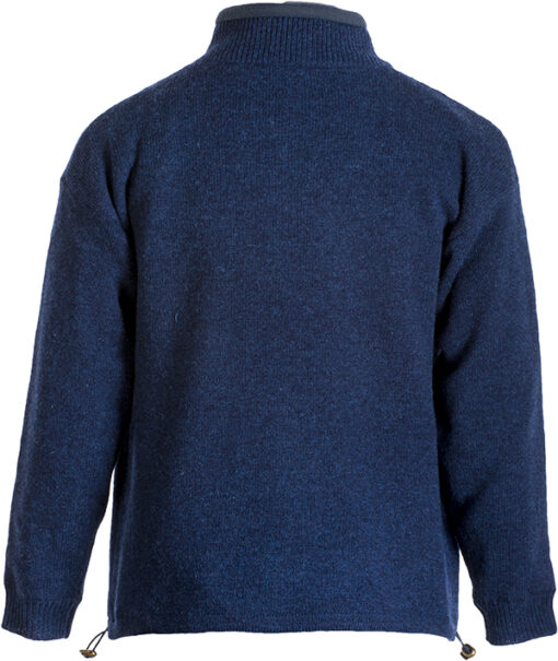 mens wool zip cardigan blue back