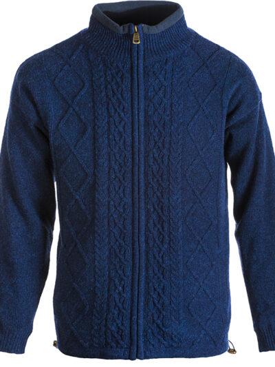 mens wool zip cardigan blue