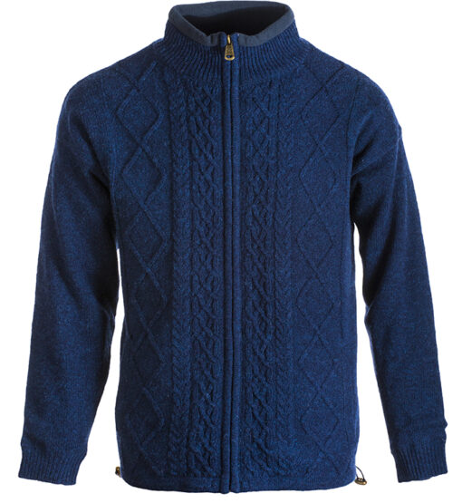 mens wool zip cardigan blue