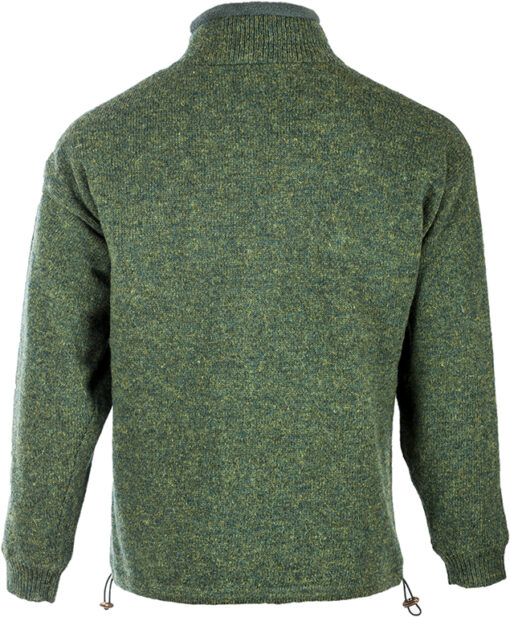 mens wool zip cardigan green back