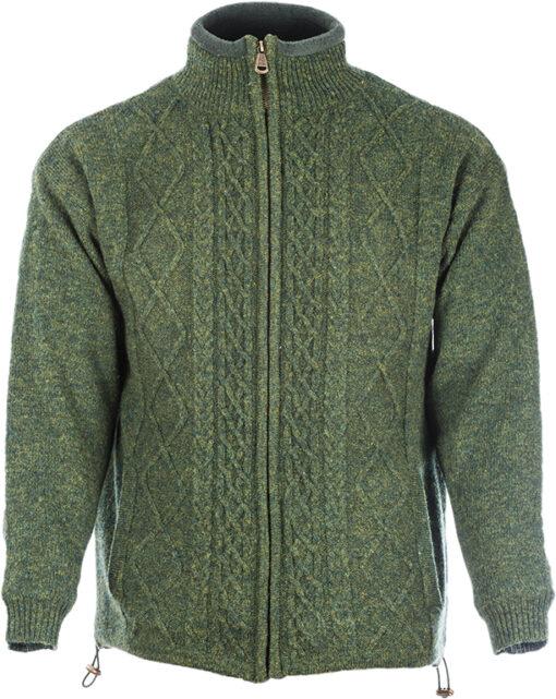 mens wool zip cardigan green front