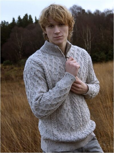 mens aran half zip sweater