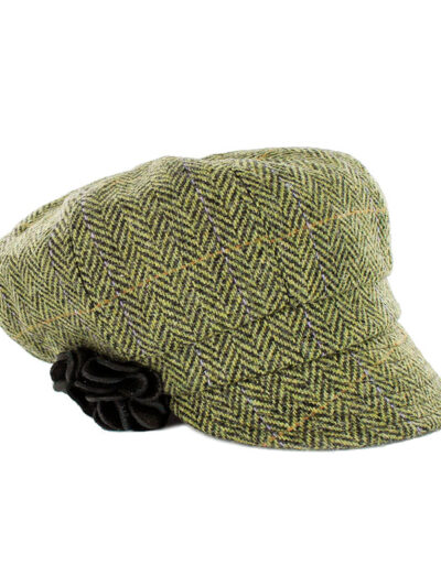 green herringbone newsboy hat with flower