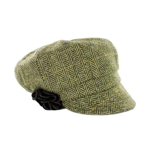 green herringbone newsboy hat with flower