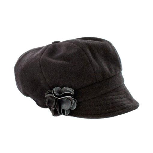 black newsboy hat with flower