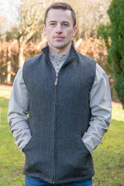 tweed mens gilet grey