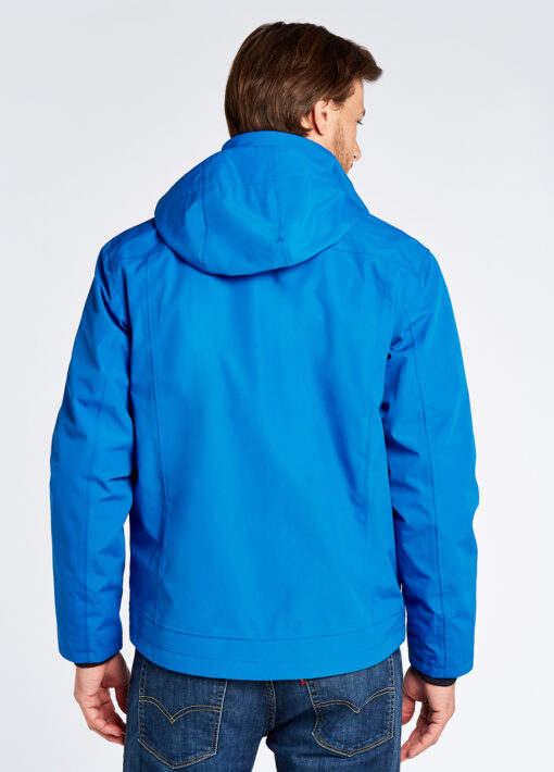 back of dubarry blue rain jacket
