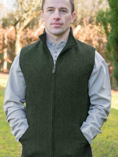 tweed mens gilet green