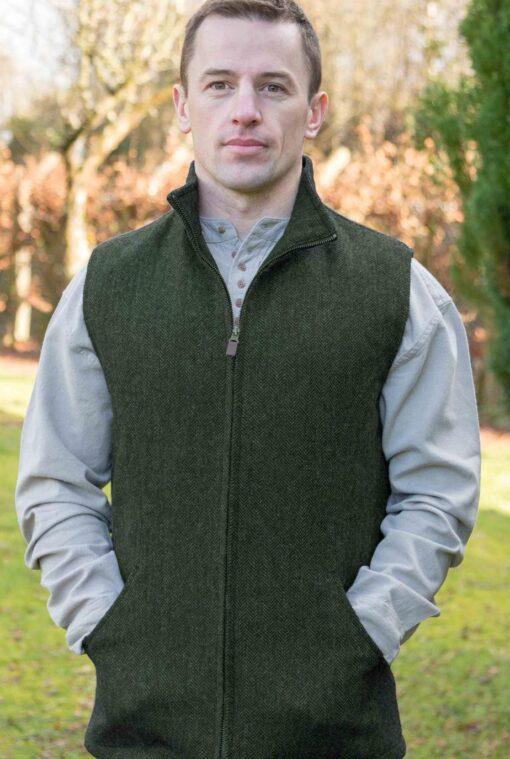 tweed mens gilet green