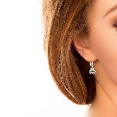 shamrock drop earring on model