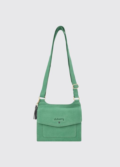 green leather messenger bag