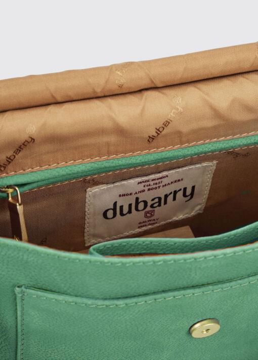 inside green messenger bag