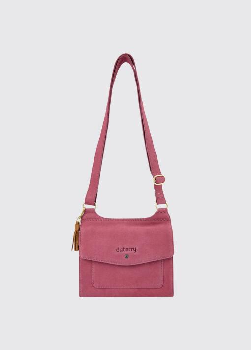pink leather messenger bag