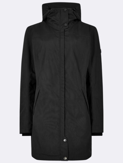 ladies black long raincoat