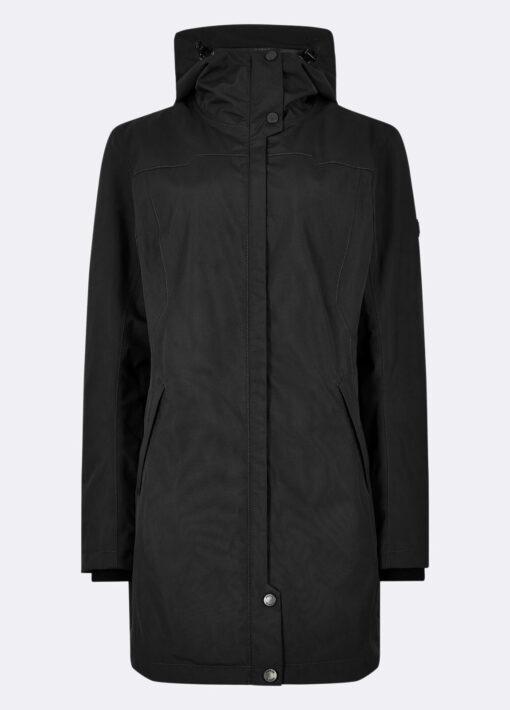ladies black long raincoat
