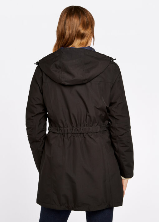 back of ladies black long raincoat