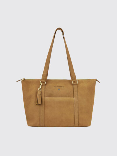 caramel tote leather