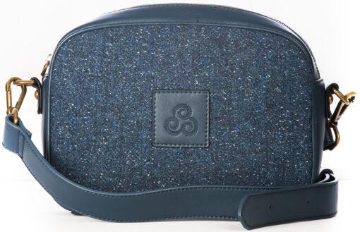 tweed and leather handbag blue