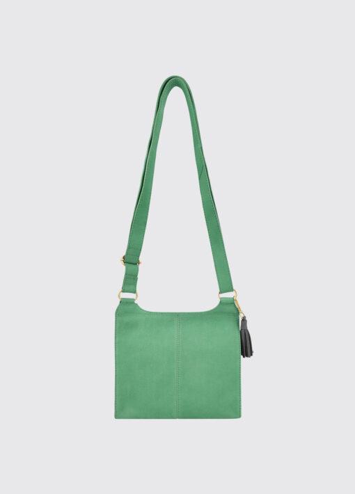 back of green leather messenger bag