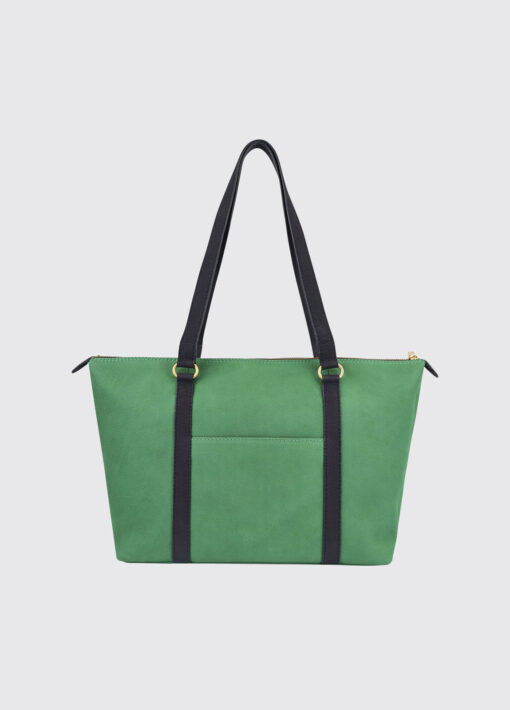 green tote bag leather