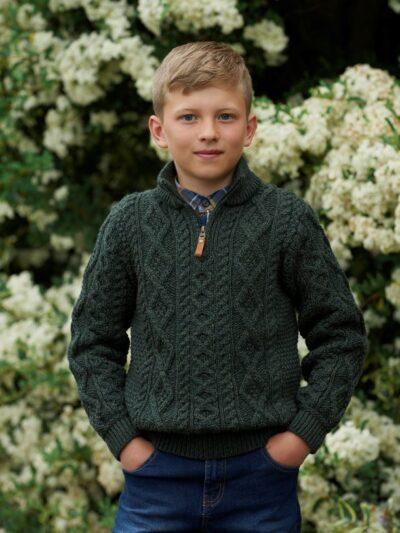 boys half zip aran sweater green