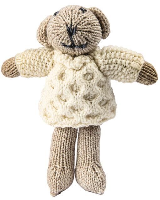 knit teddy bear white jumper