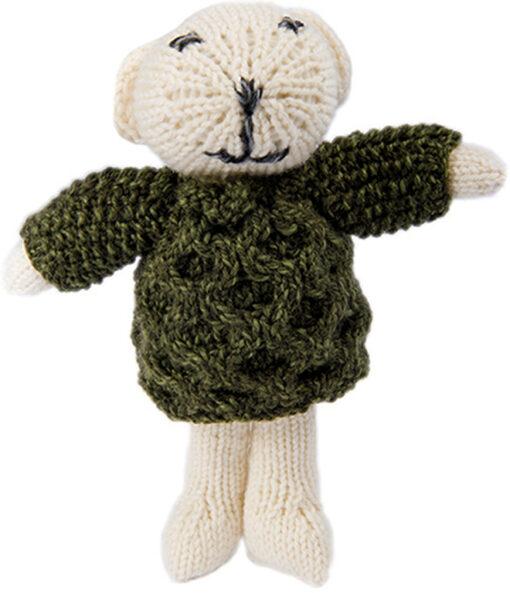knit teddy bear green jumper