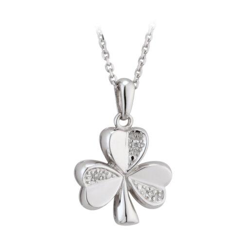 white gold diamond shamrock pendant
