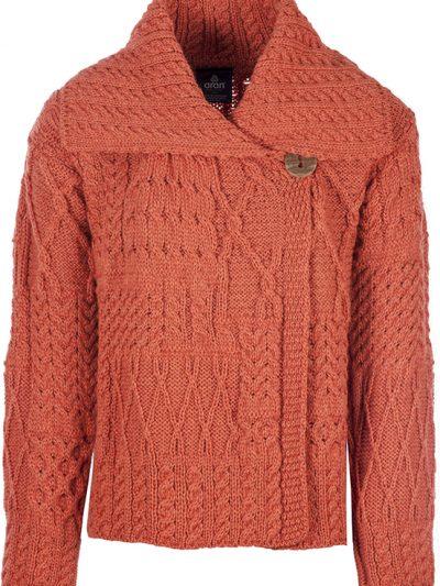 Aran Woollen Mills | One Button Sweater With Draped Collar