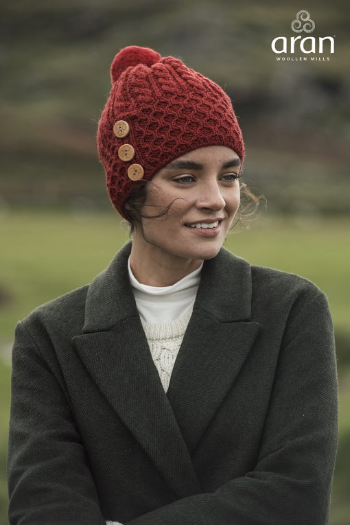 Aran Merino Wool Hat with 3 Buttons