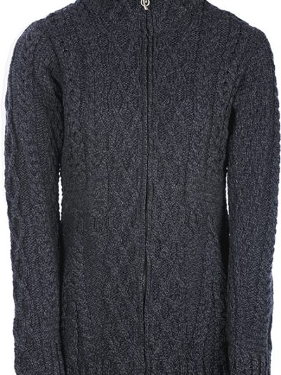 Womens-Wool-Cardigan-Zip-Gray