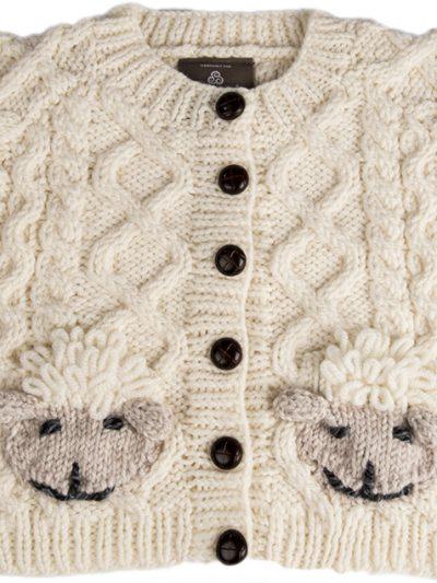 Baby Handknit Aran Cardigan Sweater with Sheep Pockets
