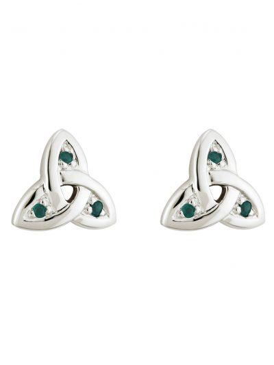 14k White Emerald Trinity Knot Stud