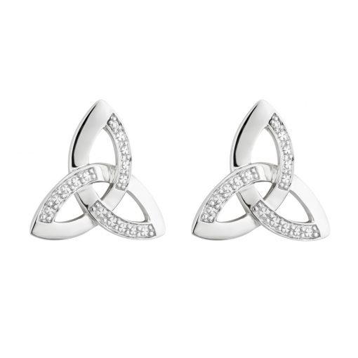 14ct White Dia Trinity Knot Stud Earrings