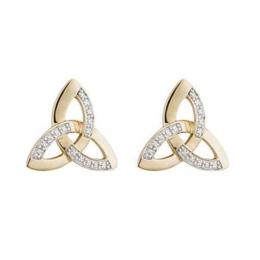 14ct Two Tone Dia Trinity Stud Earrings