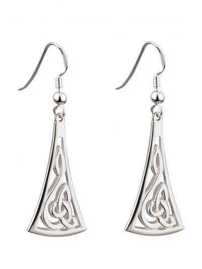 Sterling Silver Long Celtic Drop Earrings - Failte