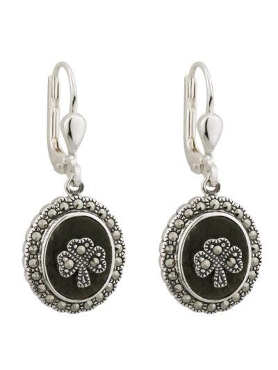 Marble & Marcasite Shamrock Drop Earrings