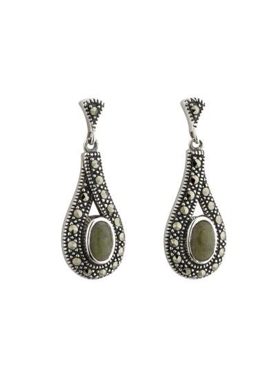Sterling Silver Marble & Marcasite Earrings