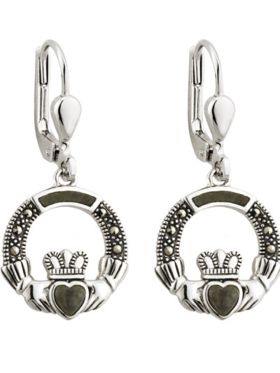 Sterling Silver Marcasite & Marble Claddagh Drops