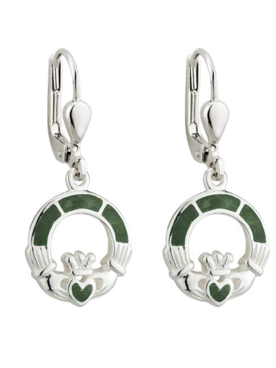 Silver Connemara Marble Claddagh Drop Earrings