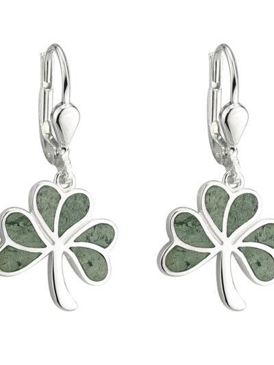 Silver Connemara Marble Shamrock Drop Earrings