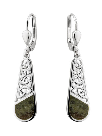 Sterling Silver Marble Trinity Knot Drop Earrings
