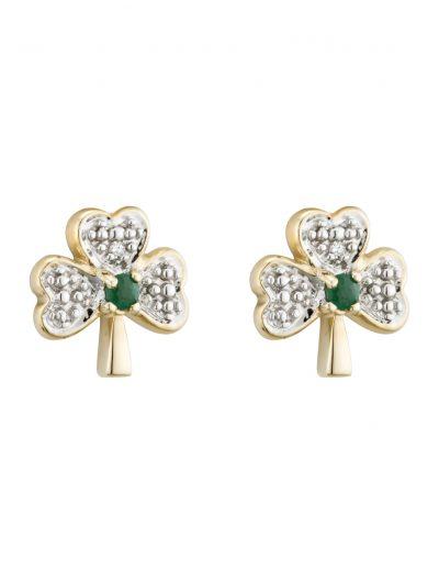 14k Gold Diamond & Emerald Shamrock Stud Earrings
