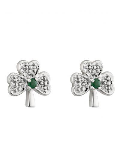 14k White Gold Diamond & Emerald Shamrock Stud Earrings